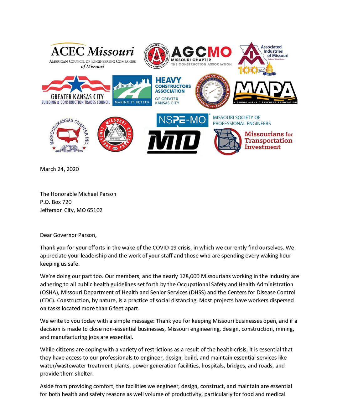 Missouri Society Of Professional Engineers Mspe Requests Governor Parson To Consider Engineering And Design As Essential Business